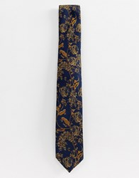 New Look Tie With Floral Detail In Gold Yellow