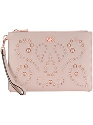 Michael Michael Kors Studded Clutch Bag Pink And Purple