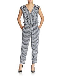 Max Studio Geo Print Surplice Jumpsuit Multicolor
