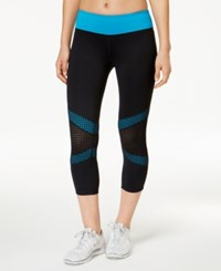 Ideology Mesh Trim Cropped Leggings Only At Macy's True Turquoise