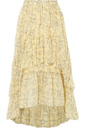 Ulla Johnson Marilyn Asymmetric Ruffled Floral Print Silk Georgette Skirt Yellow Gbp