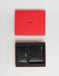Hugo Billfold Wallet Leather Card Holder Set In Black