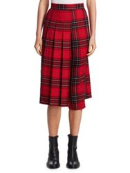Junya Watanabe Wool Plaid Skirt Pants Red Black