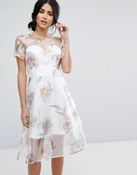 Chi Chi London Organza Midi Dress In Overscale Floral Multi