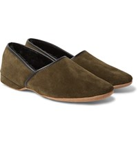 Derek Rose Crawford Shearling Lined Suede Slippers Army Green