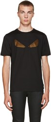 Fendi Black Crystal Monster Eyes T Shirt