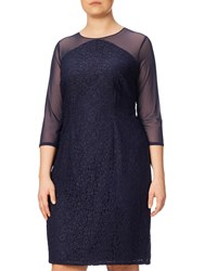 Adrianna Papell Plus Size Mesh And Lace Shift Dress Navy