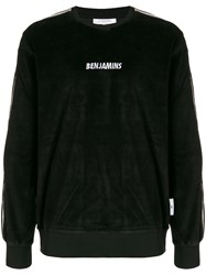 Les Benjamins Logo Embroidered Velvet Sweatshirt Black