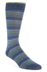 Bugatchi Men's Thin Stripe Crew Socks