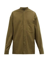 Haider Ackermann Patch Pocket Brushed Cotton Twill Shirt Khaki