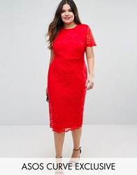 Asos Curve Lace Crop Top Midi Pencil Dress Red