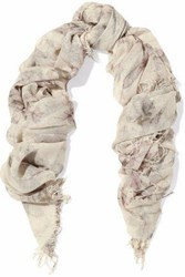 Chan Luu Fringed Printed Cashmere And Silk Blend Gauze Scarf Ecru