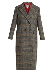 Alexachung Long Double Breasted Checked Coat Grey Multi