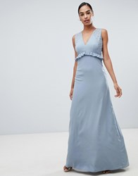 Maya Maxi Dress With Ruffle Waist Blue