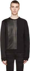 Balmain Black Neoprene And Leather Quilted Sweatshirt