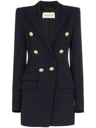Alexandre Vauthier Double Breasted Wool Blazer Blue
