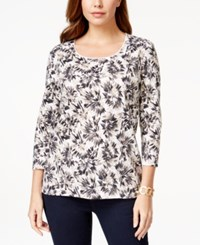 Karen Scott Three Quarter Sleeve Printed Top Only At Macy's