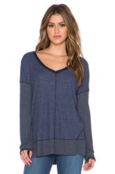 Splendid Heathered Thermal V Neck Sweater Blue