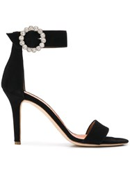 Via Roma 15 Crystal Embellished Suede Sandals Black