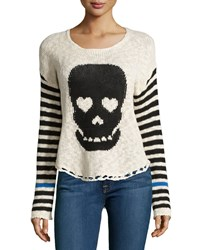 Vintage Havana Skull Print Striped Knit Sweater Ivory Black
