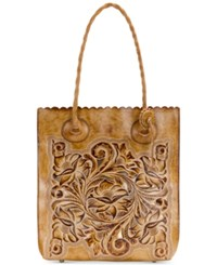 Patricia Nash Burnished Tooled Cavo Medium Tote Sand