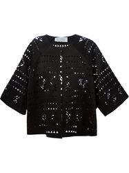 Gianluca Capannolo Laser Cut Pattern Boxy Jacket Black