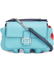 Fendi Micro 'Double Baguette' Crossbody Bag Blue