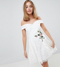 Little Mistress Petite Lace Mini Bardot Dress With Floral Embroidery Cream