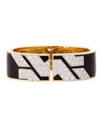 David Webb Manhattan 18K Gold Diamond Cuff Bracelet In Black Enamel
