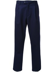 Taakk Pleated Detailing Cropped Trousers Blue