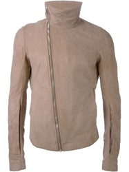 Rick Owens Draped Collar Biker Jacket Nude And Neutrals
