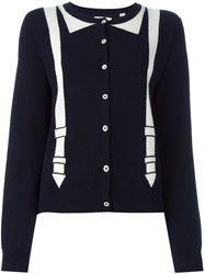 Chinti And Parker Brace Intarsia Cardigan Blue