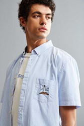 Barney Cools Embroidered Lighthouse Short Sleeve Button Down Shirt Sky