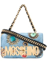 Moschino Jewel Print Shoulder Bag Blue