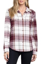 Rvca Women's Plaid Flannel Shirt Vintage White