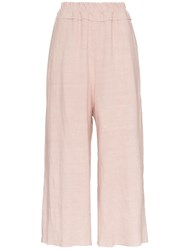 By Walid Dania Cropped Linen Trousers Pink