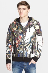 Just Cavalli Allover Print Full Zip Hoodie White Multi
