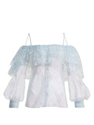 Rodarte Off The Shoulder Lace And Tulle Top Blue Print
