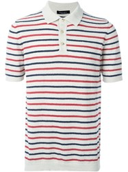Roberto Collina Striped Towelling Polo Shirt Nude And Neutrals