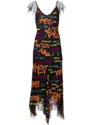 Amen Embroidered Asymmetric Dress Black