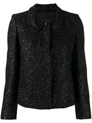 Emporio Armani Glitter Fitted Jacket Black