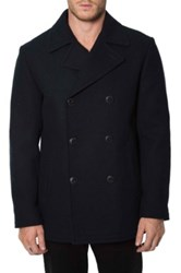 7 Diamonds 'Seville' Wool Blend Double Breasted Peacoat Blue