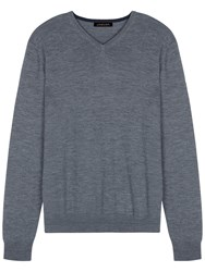 Jaeger Merino Wool V Neck Jumper Grey Melange