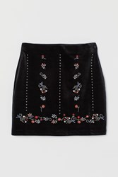 Handm H M Skirt With Embroidery Black