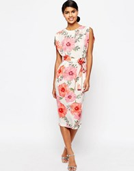 Asos Belted Dress With Split Cap Sleeve In Occasion Floral Multi