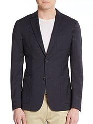 Ermenegildo Zegna Regular Fit Checkered And Jersey Knit Back Wool Sportcoat Navy