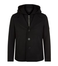 Neil Barrett Hooded Insert Pea Coat Male Black