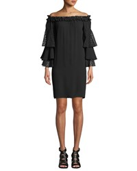 Michael Kors Off The Shoulder Silk Shift Dress With Ruffled Lace Sleeves Black
