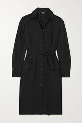 Tom Ford Belted Washed Twill Shirt Dress Black
