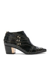 Rodarte For Fwrd Embossed Studded Leather Booties In Animal Print Black Animal Print Black
